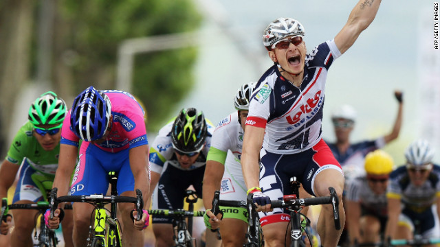 Andre Greipels shows his delight after winning the fourth stage of the 2012 Tour de France in Rouen.