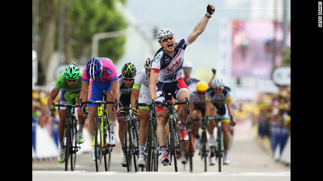 Andre Greipel of Germany and the Lotto-Belisol team celebrates winning Stage 4, from Abbeville to Rouen, on Wednesday, July 4.