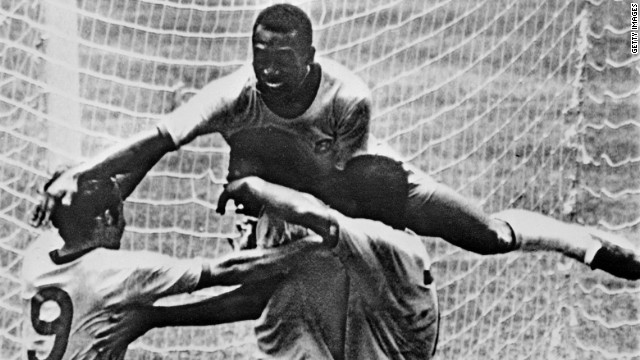Pele (top) leaps on his teammates during Brazil's 4-1 victory over Italy in the 1970 World Cup final. The Brazil team of that tournament, which clinched a third World Cup triumph, is often heralded as one of the finest in football history.