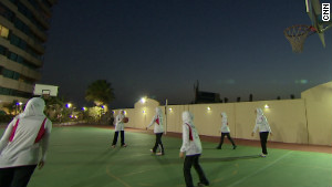 The women of Jeddah United in action.