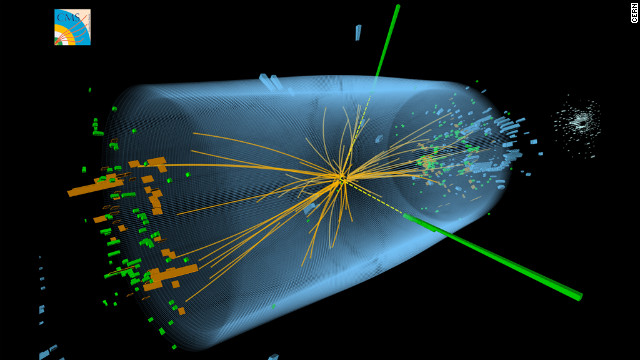 A proton-proton collision produced in the Large Hadron Collider shows characteristics in line with the decay of a Higgs boson particle.