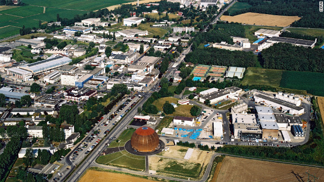 CERN's Globe of Science and Innovation exhibition center and surface buildings, which provide access to the Large Hadron Collider, can be seen near Geneva, Switzerland.