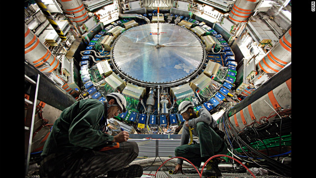 "The ATLAS experiment, seen here in 2011, is about two stories taller than CMS. The Higgs boson has been called the ""God particle"" because of a book by that title, but scientists hate the name."