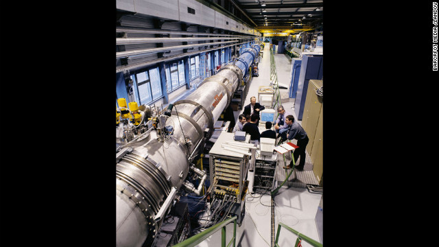 The particle accelerator magnets of the LHC are shown at the underground test facility at CERN near Geneva.