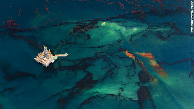 "The series ""Spill"" by Spanish photographer Daniel Beltrá documents the world's largest marine oil spill following the 2010 explosion of BP's <a href='http://www.cnn.com/2012/04/20/opinion/brazile-earth-day-bp/index.html'>Deepwater Horizon</a> rig in the Gulf of Mexico."