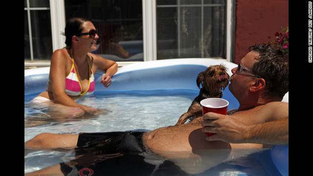 Shannon Mack and Bobby Rush keep cool with their dog, Bubba, in a pool at their apartment in Chicago on Wednesday.