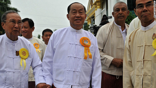 Myanmar's Vice-President U Tin Aung Myint Oo (C) has resigned, citing health reasons.
