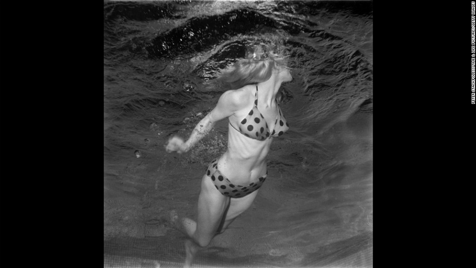 Model Lynn Jones shows off a bikini underwater in 1955.