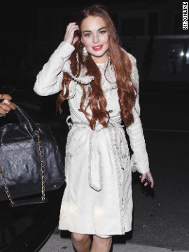 Lindsay Lohan goes to a party in Santa Monica.