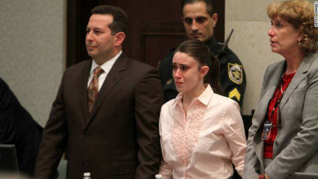 Anthony reacts to being found not guilty in Orlando, Florida, with her attorney Jose Baez by her side.