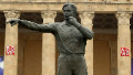 The statue of former referee Tofik Bakhramov of Azerbaijan is seen in front of the Tofik Bachramow stadium prior to the German National training session at the Tofik Bachramow stadium on August 11, 2009 in Baku, Azerbaijan