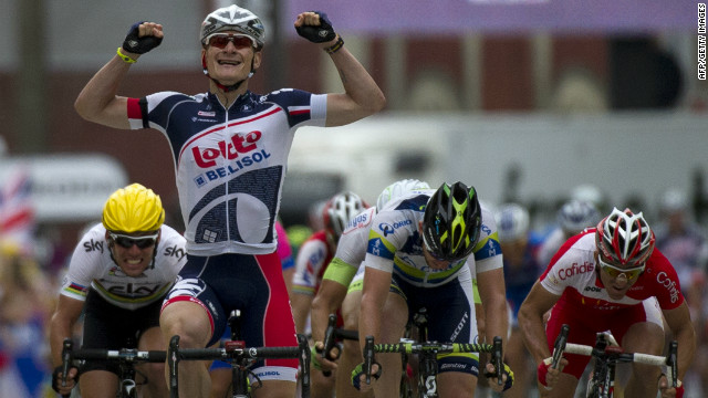 Germany's Andre Greipel celebrates after taking his second successive Tour de France stage win