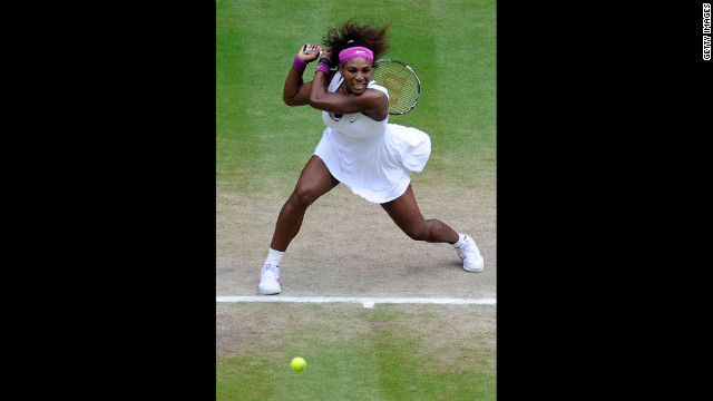 Serena Williams of the United States returns a shot during her women's singles semi-final match against Victoria Azarenka of Belarus on Thursday.
