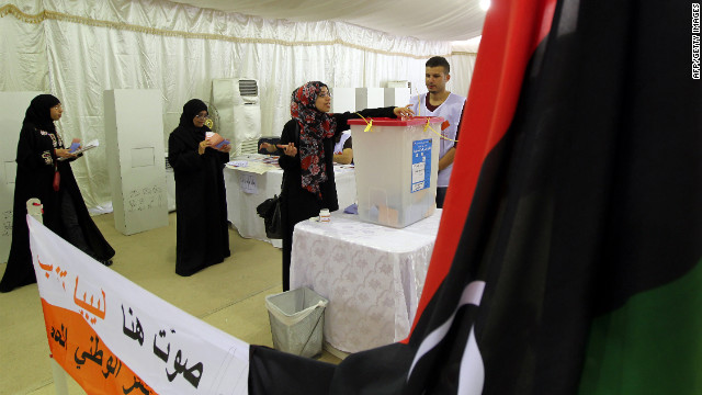 Libyans living in Dubai vote in the Libyan National Assembly elections. 