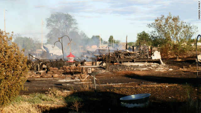 The Madden family property in Mountain Home, Idaho, after it was leveled by a wildfire in June.