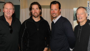 Charlie Hough, R.A. Dickey, Tim Wakefield and Jim Bouton, from left, attend the April premiere of of \'Knuckleball!\' at the Tribeca Film Festival.