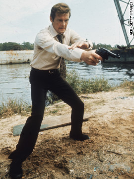 British actor Roger Moore filming the Bond film &quot;Live and Let Die&quot; in 1973. 