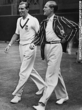 Perry, left, and von Cramm walk together before competing against each other for the championship. 
