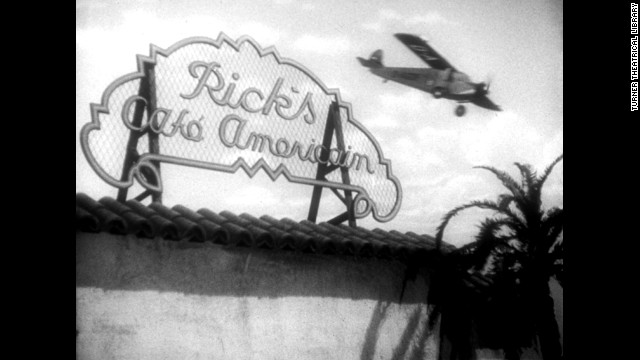 "This year marks the 70th anniversary of ""Casablanca,"" the 1942 film starring Humphrey Bogart and Ingrid Bergman and directed by Michael Curtiz. In this still from the film, a plane flies over the upscale piano bar 'Rick's Cafe Americain.'"