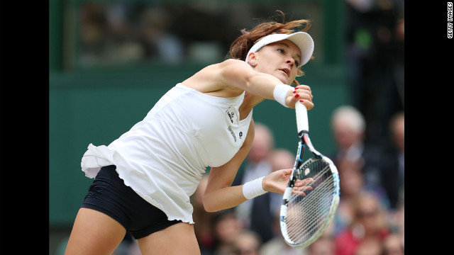 Radwanska serves to Williams in the final match in the women's singles.