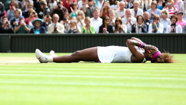 Serena Williams celebrates her win against Poland's Agnieszka Radwanska for her fifth Wimbledon title. Visit CNN.com/tennis for complete coverage.