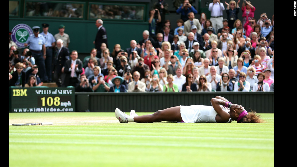 Serena Williams celebrates her win against Poland's Agnieszka Radwanska for her fifth Wimbledon title. Visit <a href='http://edition.cnn.com/SPORT/tennis/'>CNN.com/tennis</a> for complete coverage.