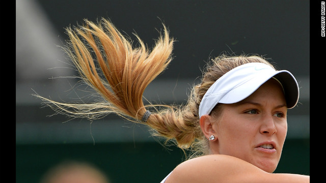 Canada's Eugenie Bouchard hits the ball in the girls' singles final against Ukraine's Elina Svitolina on Saturday.