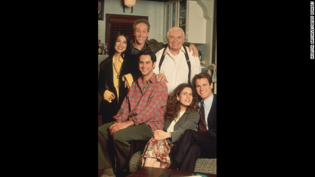 "A portrait of the cast from the television sitcom ""The Single Guy."" Borgnine, top right, played a doorman on the show, which aired from 1995 to 1997. Over the years, he racked up more than 200 film and television credits."