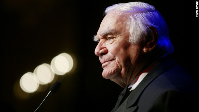 Named humanitarian of the year, Borgnine speaks on stage at the So the World May Hear fundraising event in Los Angeles on November 6, 2003.