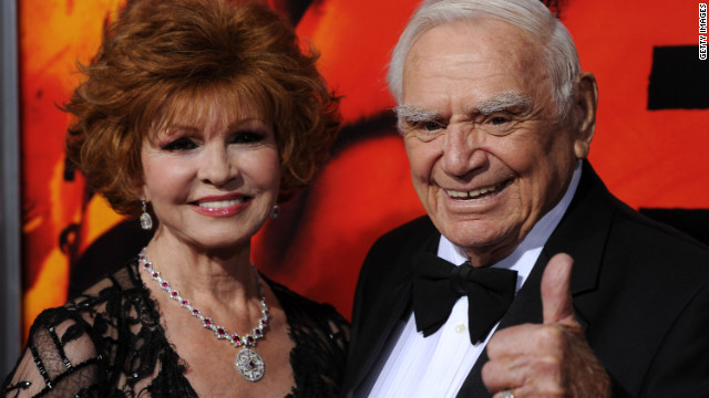 "Borgnine and his wife Tova arrive at a special Hollywood screening of the 2010 film ""Red."""
