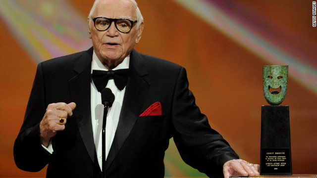 After receiving the life achievement award, Ernest Borgnine speaks onstage during the 17th Annual Screen Actors Guild Awards in Los Angeles on January 30, 2011.