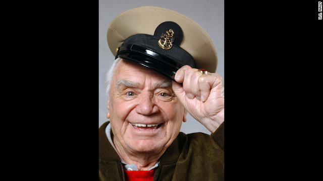 "Before getting his start in acting, Borgnine served in the Navy during World War II. He went on to star in the 1962-66 sitcom ""McHale's Navy"" and in 2004 (pictured), he was made an honorary U.S. Navy chief petty officer."