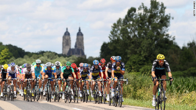 Bernhard Eisel of Austria leads the main group of riders, or peloton, through the French countryside during Stage 7 on Saturday.