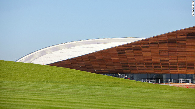 The venues, like the velodrome pictured here in the background, blend into the landscaped parkland creating a number of striking vistas. 