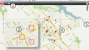 PredPol\'s system features a map of a city marked with red squares to show zones where crimes are likely to occur.