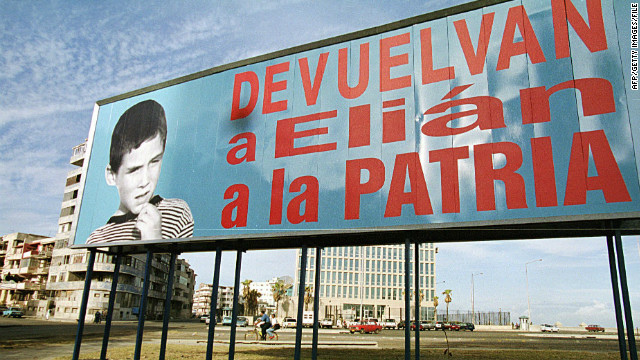 "A billboard from 1999 in Havana reads ""Return Elian to this nation."" Cuban citizen Elian Gonzalez was at the center of an international custody battle between the U.S. and Cuba after being found off the Florida coast by fishermen in 1999."