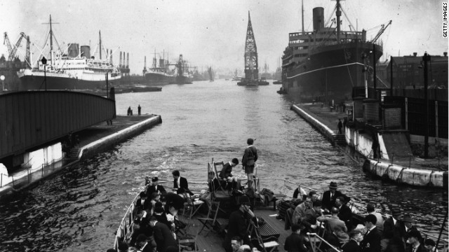 Built around the mid 19th century, Royal Victoria Dock was a major cargo hub for the city. By the 1930s, the Docklands were one of the busiest ports in the world (pictured).