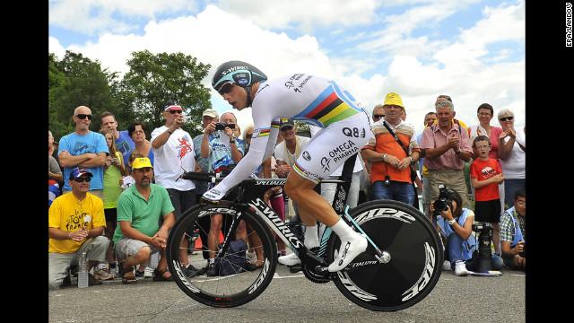 German Tony Martin rides for the Omega Pharma Quick Step team.