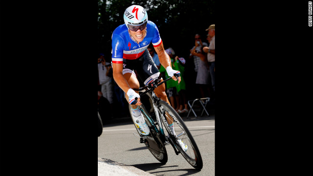 Sylvain Chavanel of France, riding for Omega-Pharma-Quickstep, races to fifth place in the individual time trials.