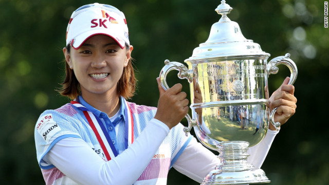 Na Yeon Choi celebrates after clinching her first major victory at the 2012 U.S. Women's Open.
