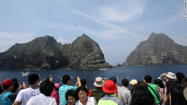 The islands known as Takeshima in Japan and Dokdo in South Korea, pictured here in 2008, continue to be disputed.