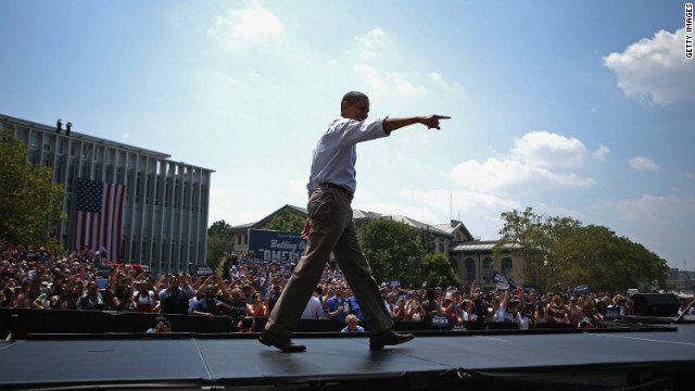 President Barack Obama arrives at a campaign event at Carnegie Mellon University in Pittsburgh on July 5.