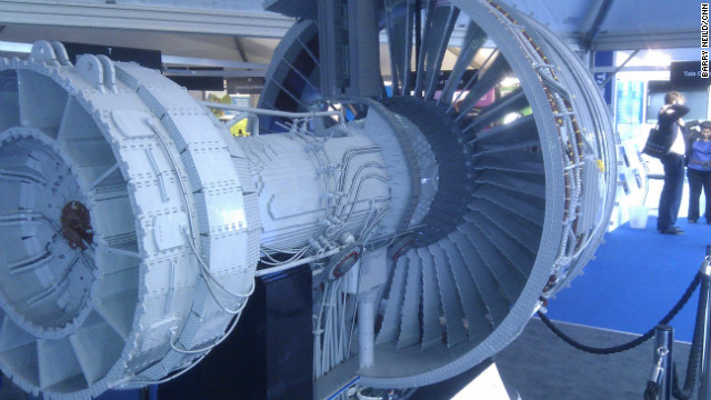 The bespoke Lego sculpture took four Rolls-Royce apprentices and graduates eight weeks to design and complete using 152,455 Lego bricks. The engine is part of a display in the Innovation Zone at the Farnborough Airshow.