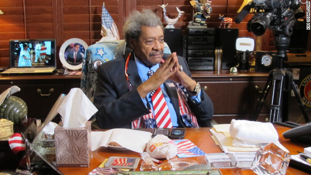 Don King, 81, sits at his desk at his South Florida office, which is more like a museum than an office. Known as a boxing promoter, King says he aspires to use the sport &quot;as a catalyst to bring people together.&quot; 