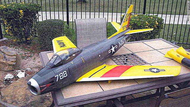 Officials say Rezwan Ferdaus had this remote-controlled model of the U.S. Navy's 1950s Sabre jet fighter.