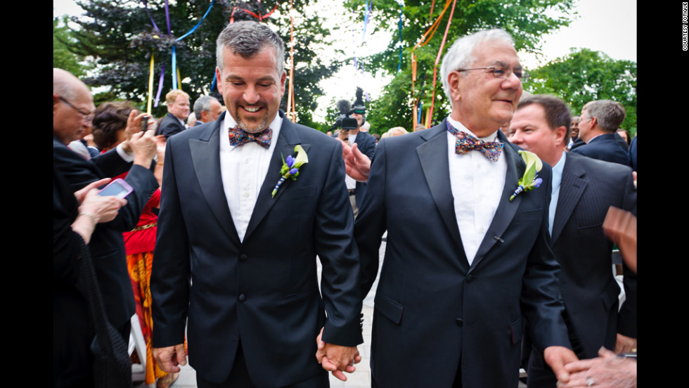 U.S. Rep. Barney Frank, right, married his longtime partner Jim Ready on Saturday, July 7, in Boston, becoming the first member of Congress to marry someone of the same gender while in office.