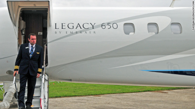 Embraer showcase their private jets including the 2012 edition of the Legacy 650 which is making its debut at Farnborough. The Legacy 650 is a large three-cabin jet with a transatlantic range of 3,950 miles and primarily aimed at the executive aviation market. 