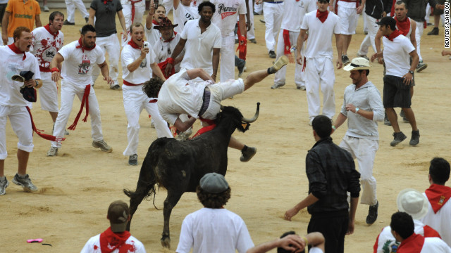 One of the bulls tosses a runner on Wednesday, July 11. 