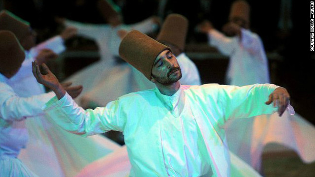 "A dervish whirls in religious ecstasy in the Turkish city of Konya, where the Sufi mystic Rumi is buried. ""Muslim for a Month"" tours visit the tomb and observe the dervishes."