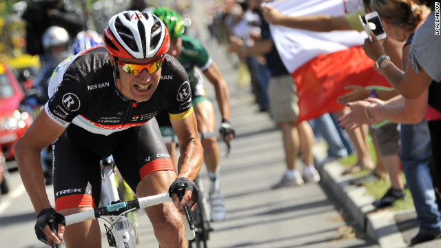 Jens Voigt of Germany attacks on the final climb of Wednesday's race. He finished third, unable to best Thomas Voeckler of France and Michele Scarponi of Italy.